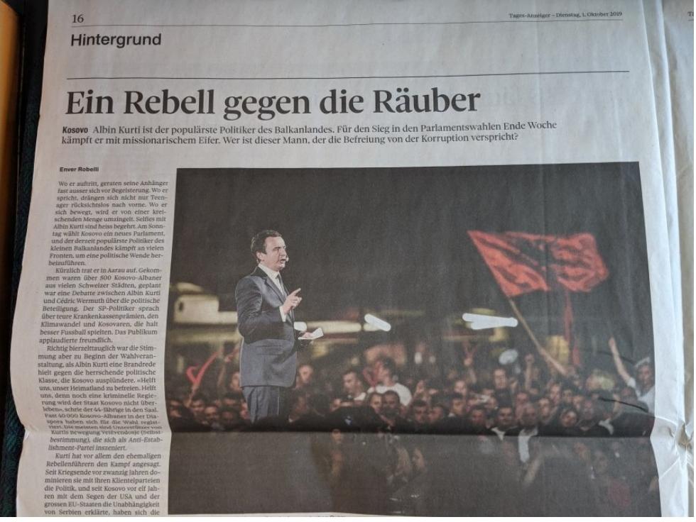 Gazeta zvicerane për Kurtin  Një kryengritës kundër hajdutëve